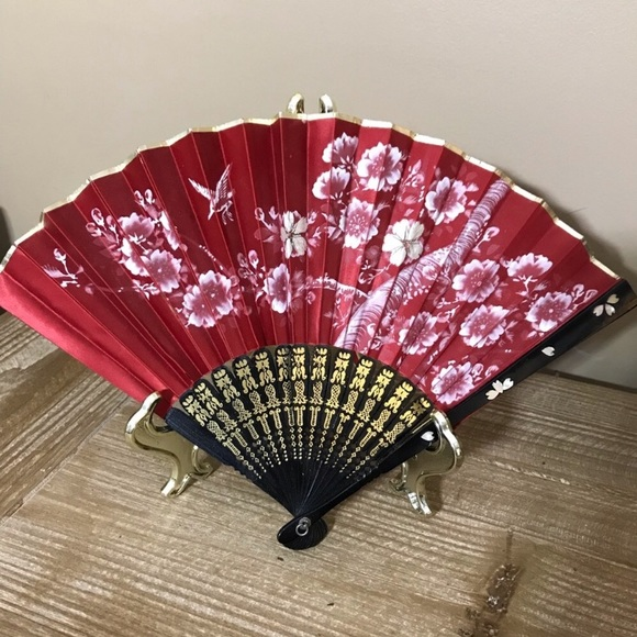 Japanese Handheld Hand Painted Fan Red Floral